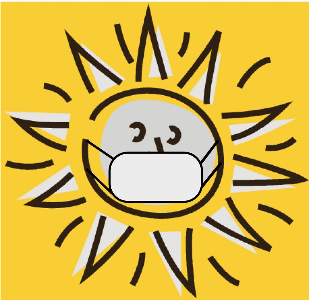 Sonne mit Mund-Nasen-Schutz